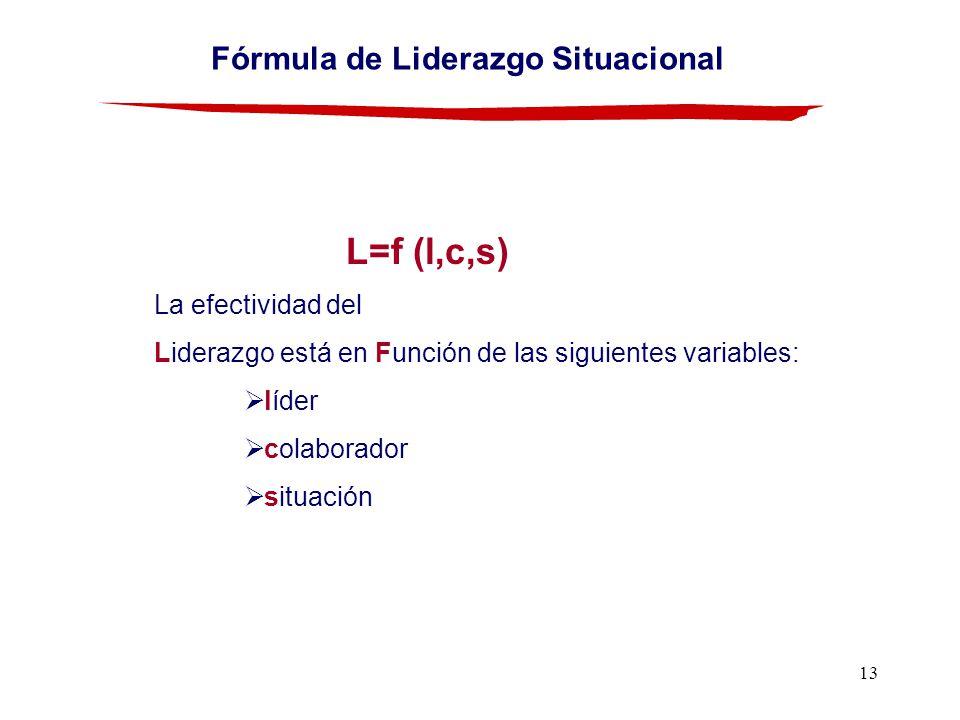 13 Fórmula de Liderazgo Situacional L=f (l,c,s) La efectividad del Liderazgo está en Función de las siguientes variables: líder colaborador situación