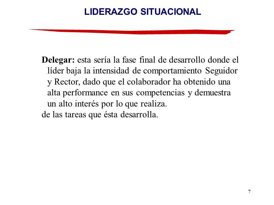 7 LIDERAZGO SITUACIONAL Delegar: esta sería la fase final de desarrollo donde el líder baja la intensidad de comportamiento Seguidor y Rector, dado qu