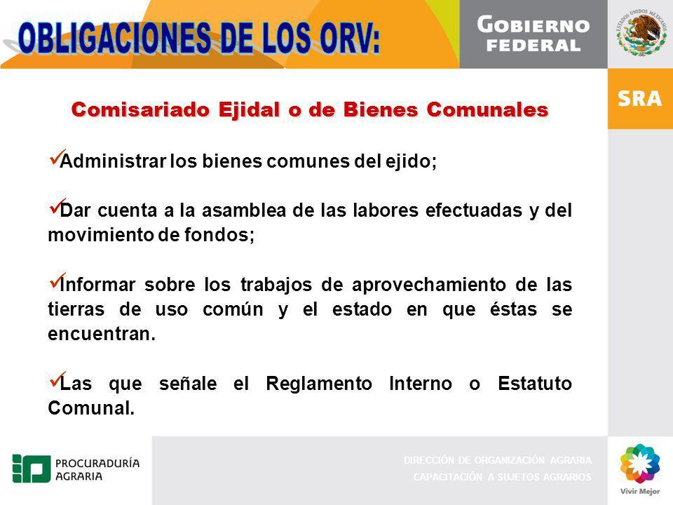 DIRECCIÓN DE ORGANIZACIÓN AGRARIA CAPACITACIÓN A SUJETOS AGRARIOS Comisariado Ejidal o de Bienes Comunales Administrar los bienes comunes del ejido; D