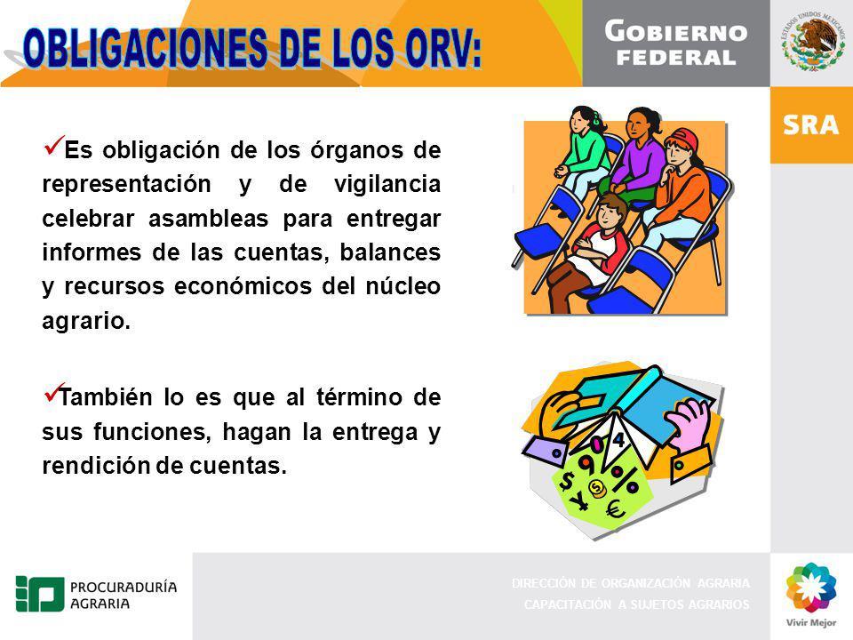 DIRECCIÓN DE ORGANIZACIÓN AGRARIA CAPACITACIÓN A SUJETOS AGRARIOS Es obligación de los órganos de representación y de vigilancia celebrar asambleas pa