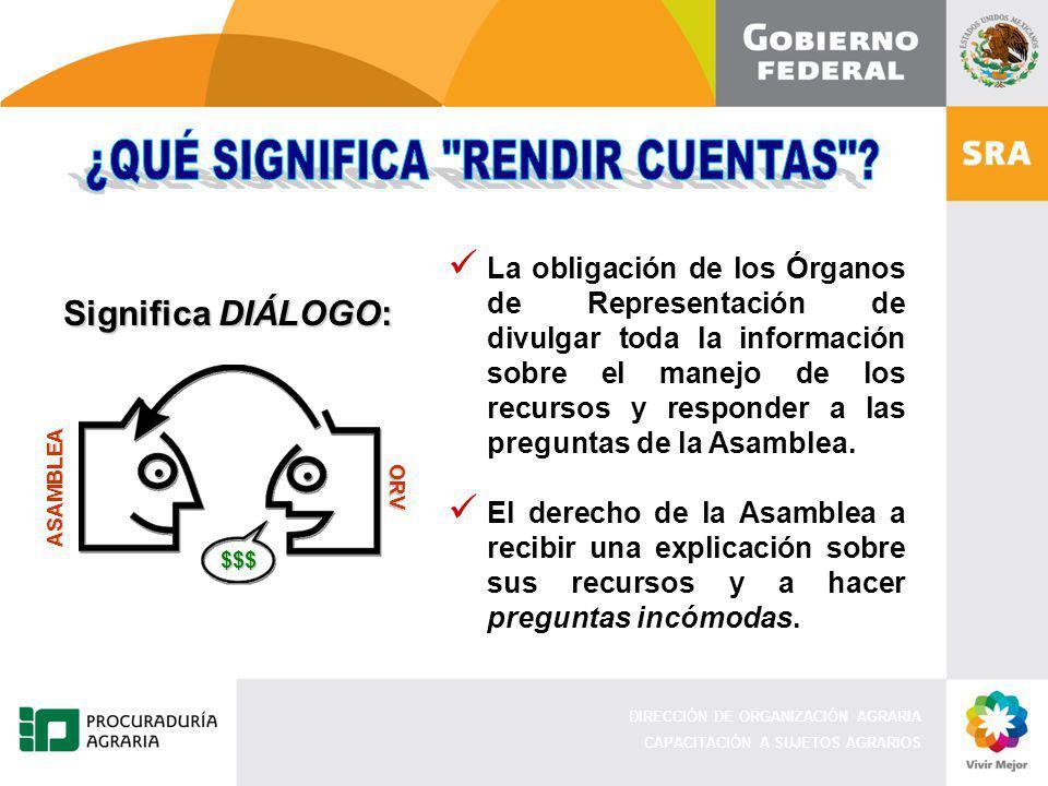 DIRECCIÓN DE ORGANIZACIÓN AGRARIA CAPACITACIÓN A SUJETOS AGRARIOS La obligación de los Órganos de Representación de divulgar toda la información sobre