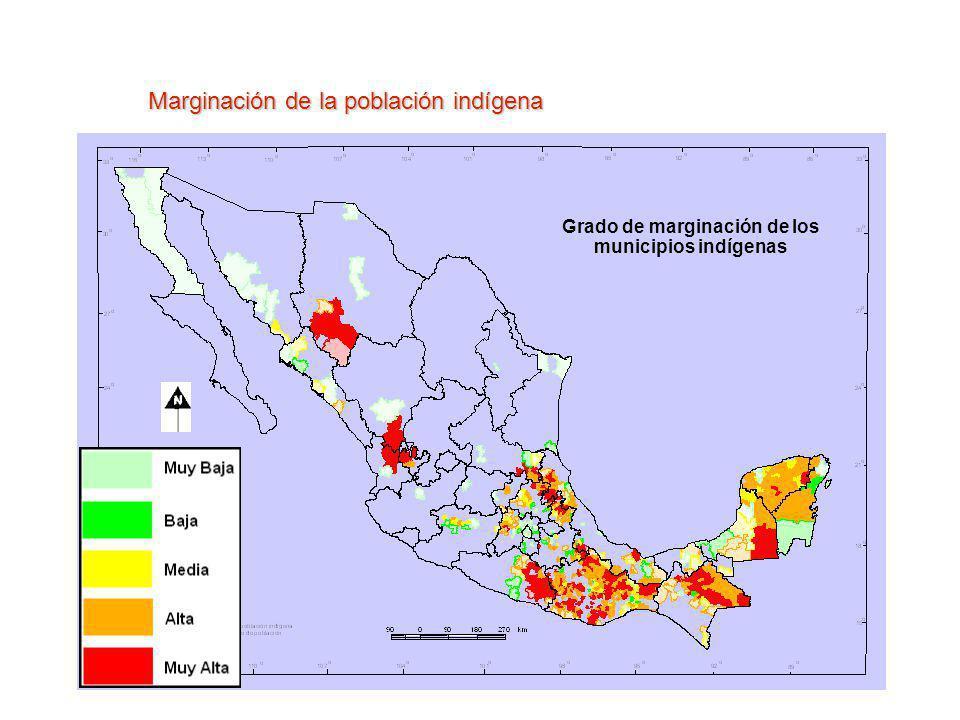 Marginación de la población indígena Grado de marginación de los municipios indígenas