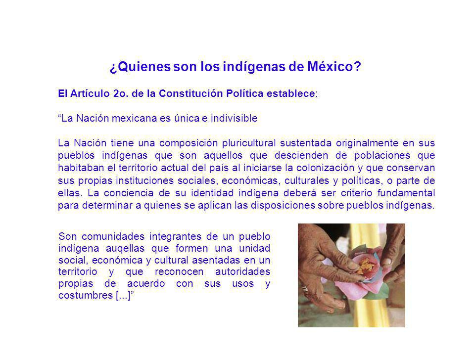 El Artículo 2o. de la Constitución Política establece: La Nación mexicana es única e indivisible La Nación tiene una composición pluricultural sustent