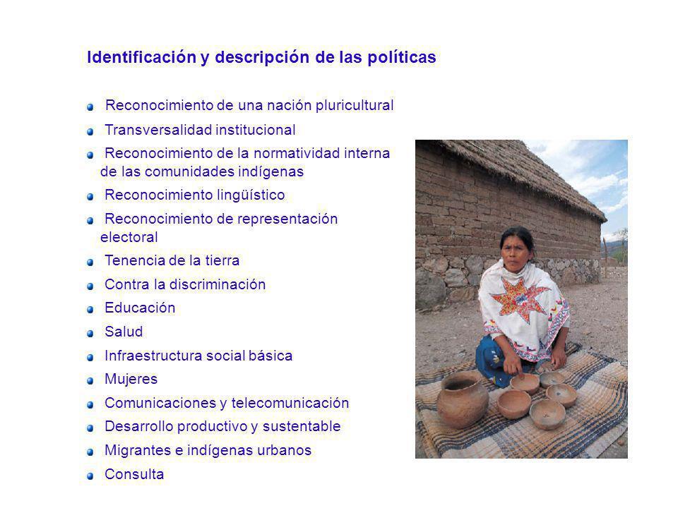 Identificación y descripción de las políticas Reconocimiento de una nación pluricultural Transversalidad institucional Reconocimiento de la normativid