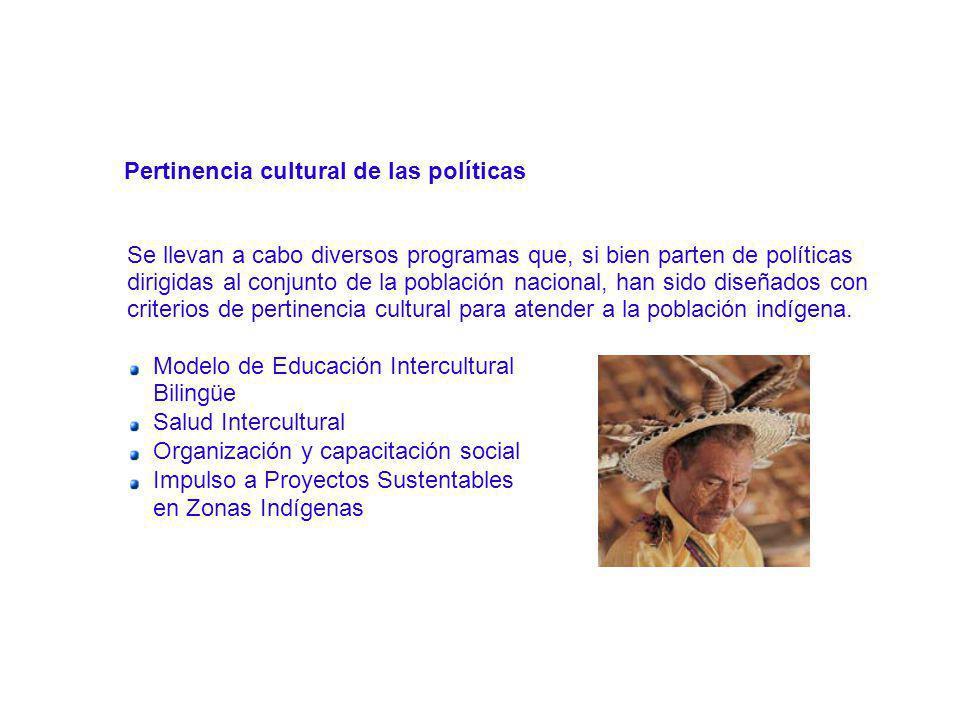 Pertinencia cultural de las políticas Se llevan a cabo diversos programas que, si bien parten de políticas dirigidas al conjunto de la población nacio