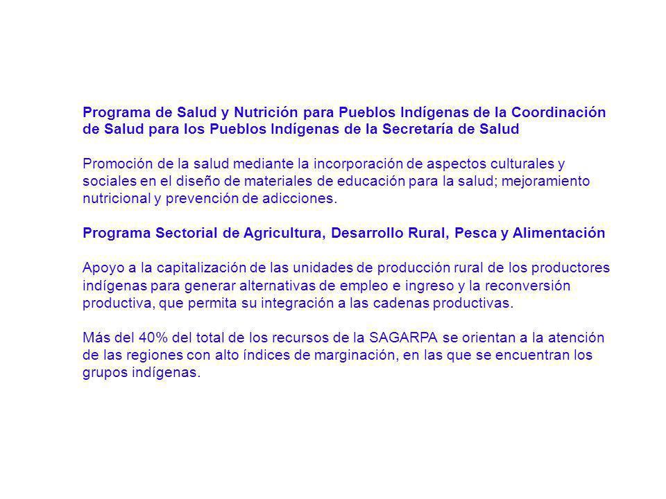 Programa de Salud y Nutrición para Pueblos Indígenas de la Coordinación de Salud para los Pueblos Indígenas de la Secretaría de Salud Promoción de la