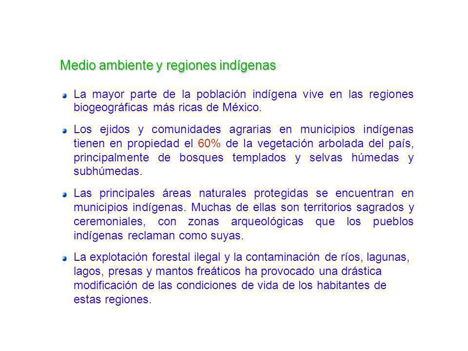La mayor parte de la población indígena vive en las regiones biogeográficas más ricas de México. Los ejidos y comunidades agrarias en municipios indíg