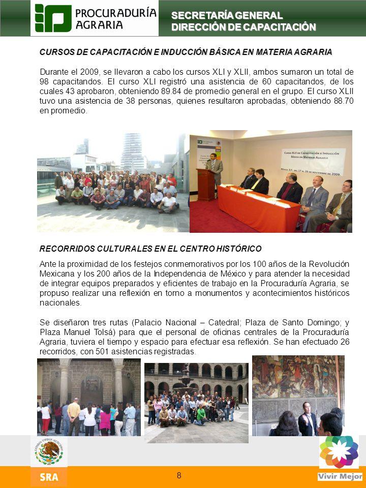 10 SECRETARÍA GENERAL DIRECCIÓN DE CAPACITACIÓN CURSOS DE CAPACITACIÓN E INDUCCIÓN BÁSICA EN MATERIA AGRARIA Durante el 2009, se llevaron a cabo los c