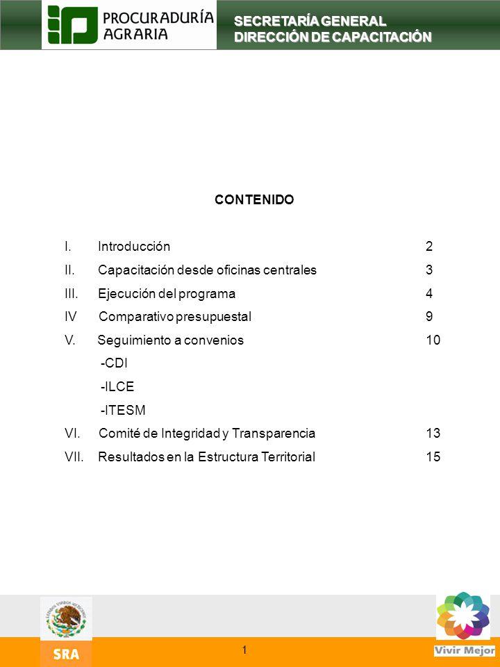 3 SECRETARÍA GENERAL DIRECCIÓN DE CAPACITACIÓN CONTENIDO I.Introducción2 II.Capacitación desde oficinas centrales3 III. Ejecución del programa 4 IV Co