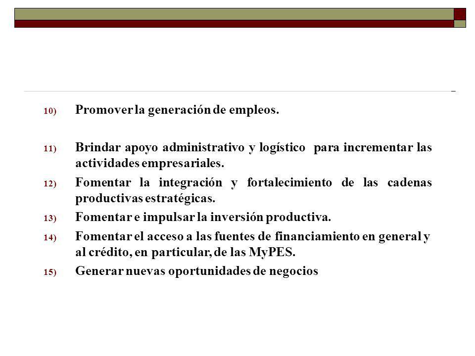 10) Promover la generación de empleos. 11) Brindar apoyo administrativo y logístico para incrementar las actividades empresariales. 12) Fomentar la in
