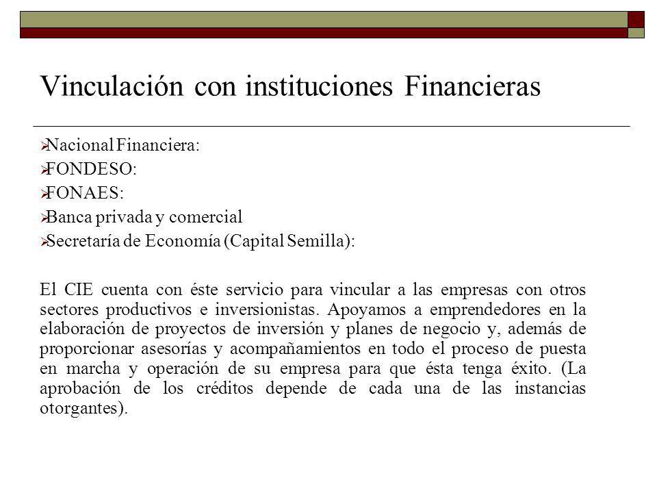 Vinculación con instituciones Financieras Nacional Financiera: FONDESO: FONAES: Banca privada y comercial Secretaría de Economía (Capital Semilla): El