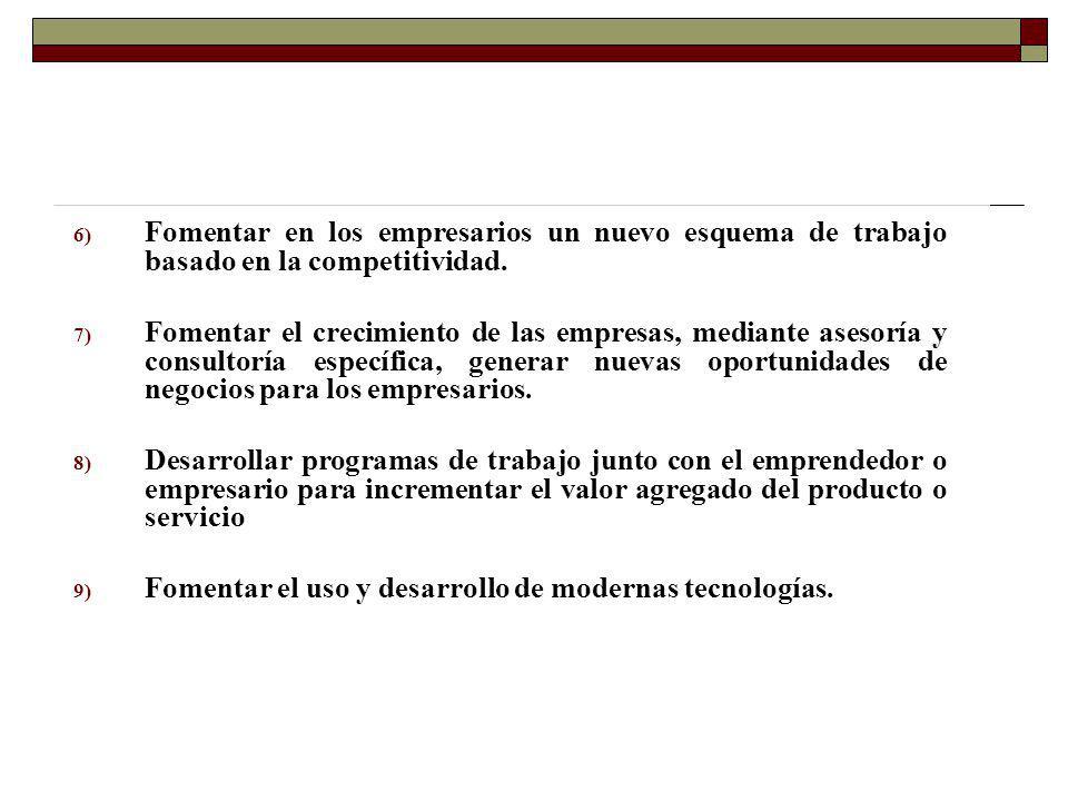 6) Fomentar en los empresarios un nuevo esquema de trabajo basado en la competitividad. 7) Fomentar el crecimiento de las empresas, mediante asesoría