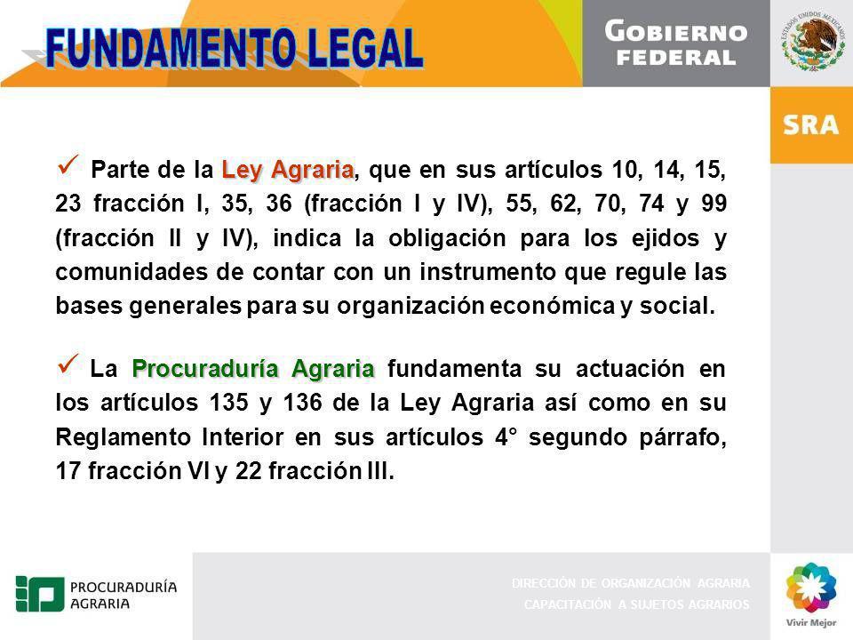DIRECCIÓN DE ORGANIZACIÓN AGRARIA CAPACITACIÓN A SUJETOS AGRARIOS Ley Agraria Parte de la Ley Agraria, que en sus artículos 10, 14, 15, 23 fracción I, 35, 36 (fracción I y IV), 55, 62, 70, 74 y 99 (fracción II y IV), indica la obligación para los ejidos y comunidades de contar con un instrumento que regule las bases generales para su organización económica y social.