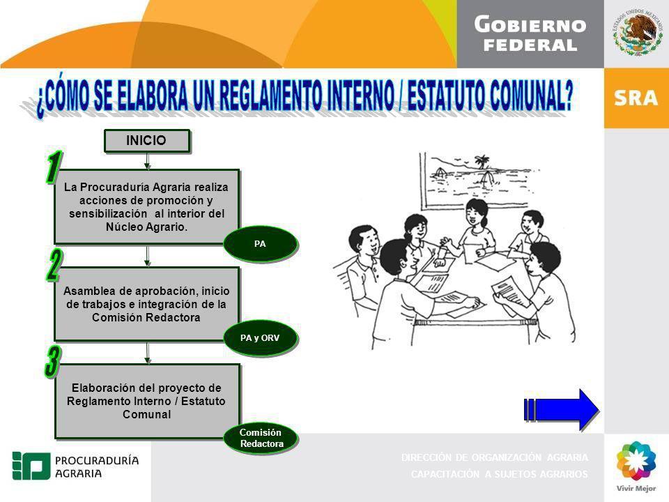 DIRECCIÓN DE ORGANIZACIÓN AGRARIA CAPACITACIÓN A SUJETOS AGRARIOS Elaboración del proyecto de Reglamento Interno / Estatuto Comunal Comisión Redactora
