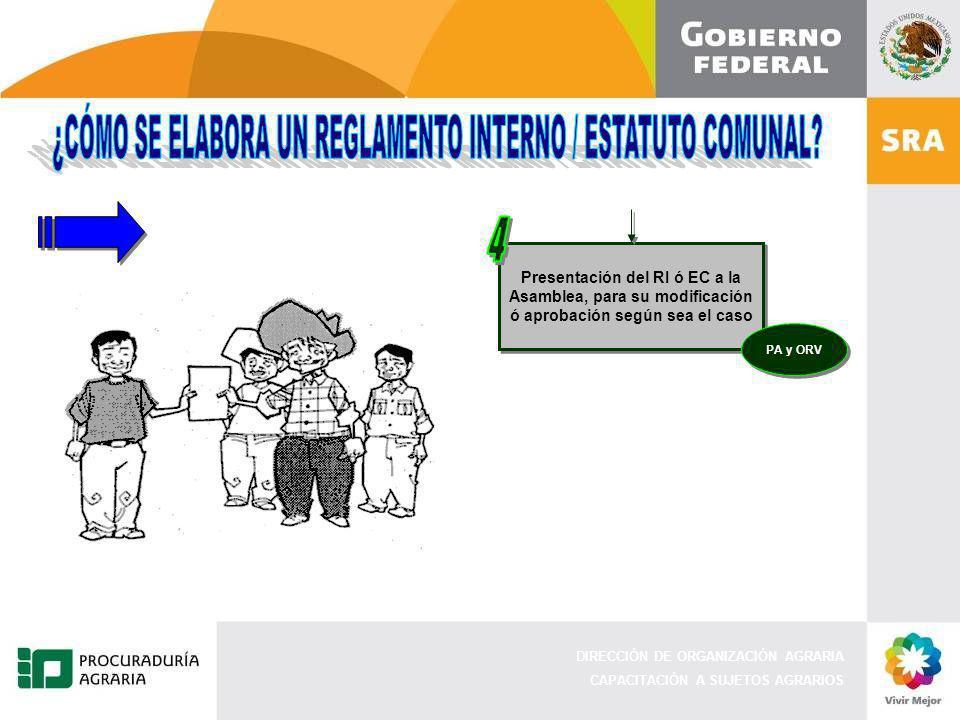 DIRECCIÓN DE ORGANIZACIÓN AGRARIA CAPACITACIÓN A SUJETOS AGRARIOS Presentación del RI ó EC a la Asamblea, para su modificación ó aprobación según sea