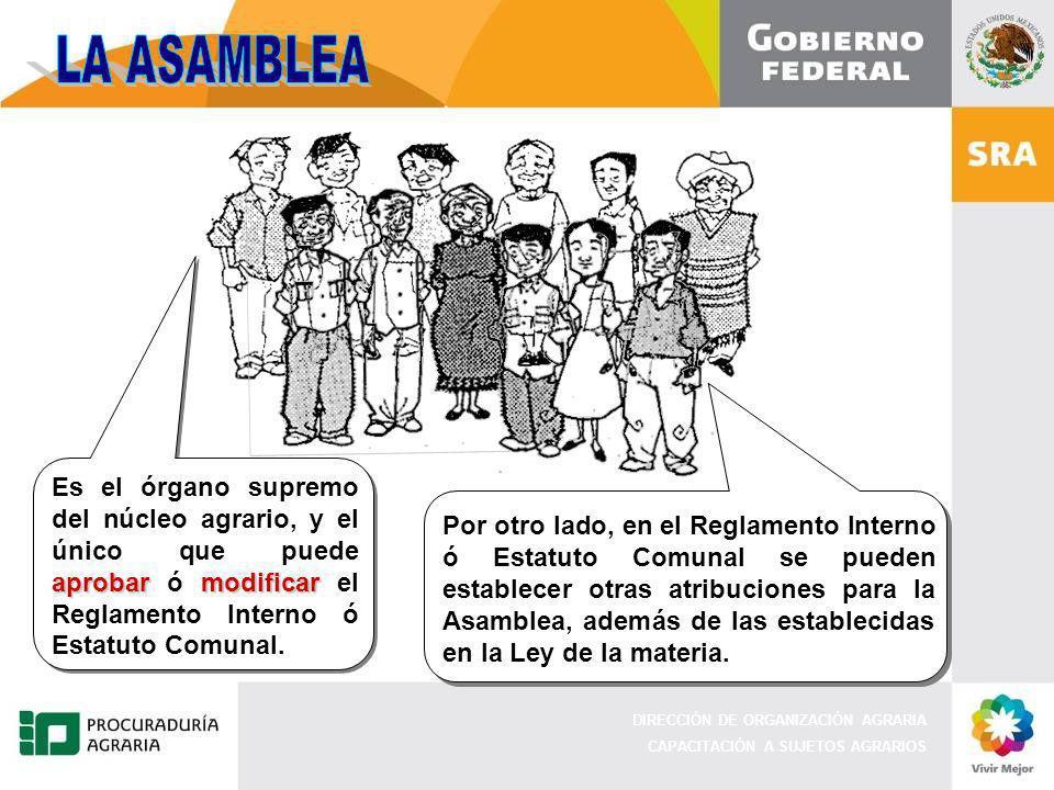 DIRECCIÓN DE ORGANIZACIÓN AGRARIA CAPACITACIÓN A SUJETOS AGRARIOS Es el órgano supremo del núcleo agrario, y el único que puede aprobar ó m mm modificar el Reglamento Interno ó Estatuto Comunal.
