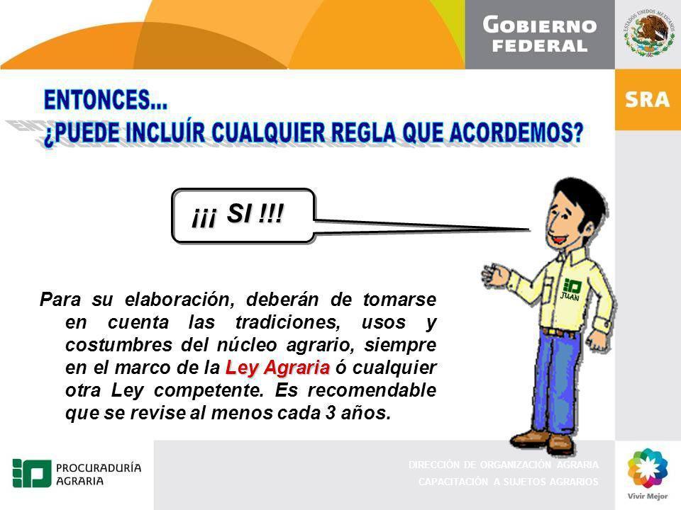 DIRECCIÓN DE ORGANIZACIÓN AGRARIA CAPACITACIÓN A SUJETOS AGRARIOS ¡¡¡ SI !!.