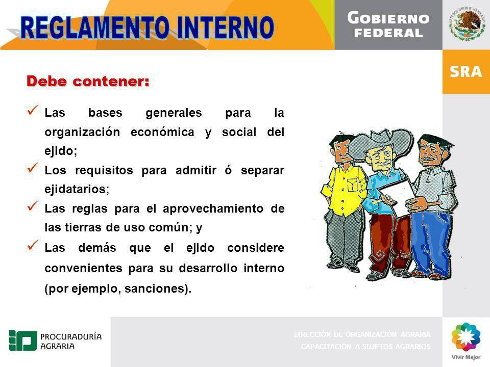 DIRECCIÓN DE ORGANIZACIÓN AGRARIA CAPACITACIÓN A SUJETOS AGRARIOS Debe contener: Las bases generales para la organización económica y social del ejido