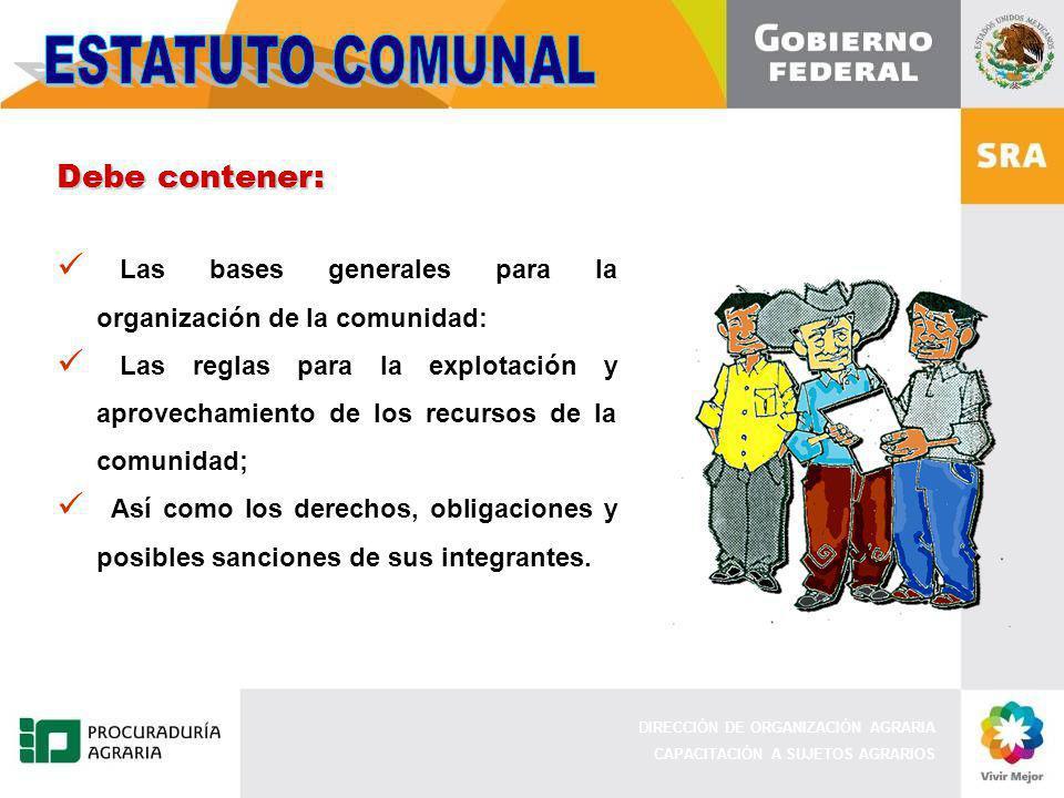 DIRECCIÓN DE ORGANIZACIÓN AGRARIA CAPACITACIÓN A SUJETOS AGRARIOS Debe contener: Las bases generales para la organización de la comunidad: Las reglas