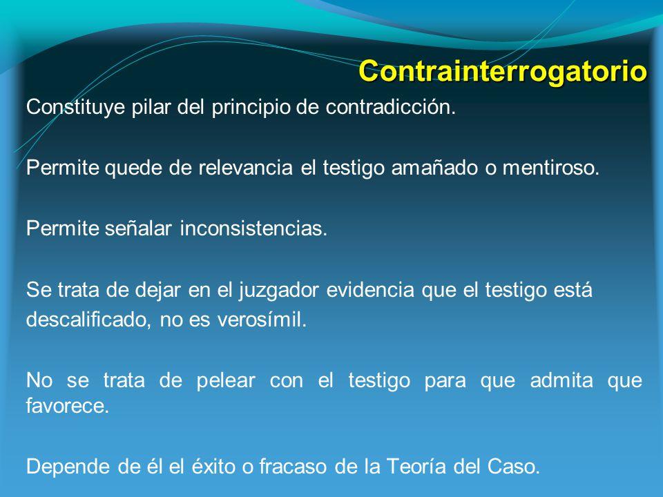 Contrainterrogatorio Constituye pilar del principio de contradicción.