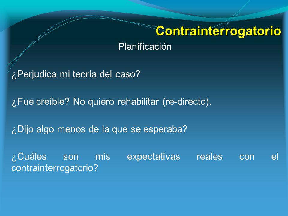 Contrainterrogatorio Planificación ¿Perjudica mi teoría del caso.