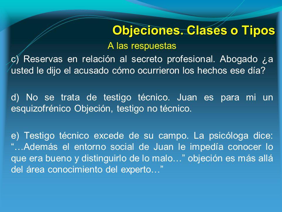Objeciones.Clases o Tipos A las respuestas c) Reservas en relación al secreto profesional.
