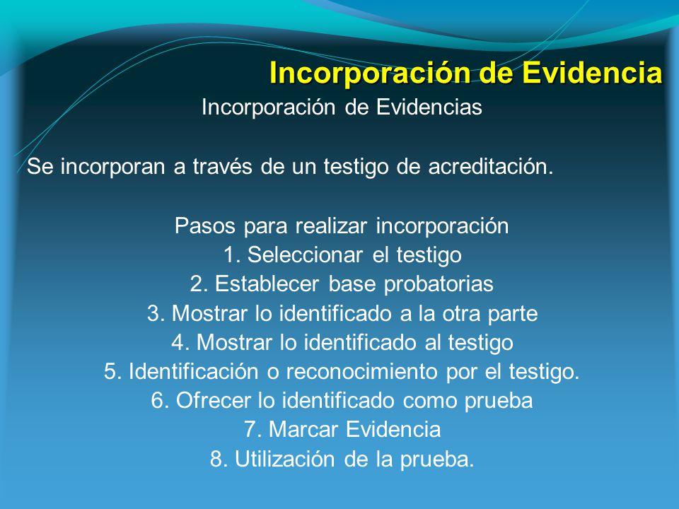 Incorporación de Evidencia Incorporación de Evidencias Se incorporan a través de un testigo de acreditación.