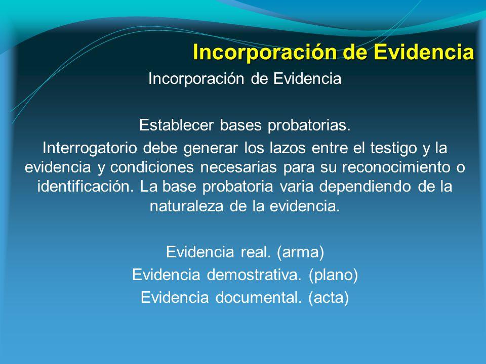 Incorporación de Evidencia Establecer bases probatorias.