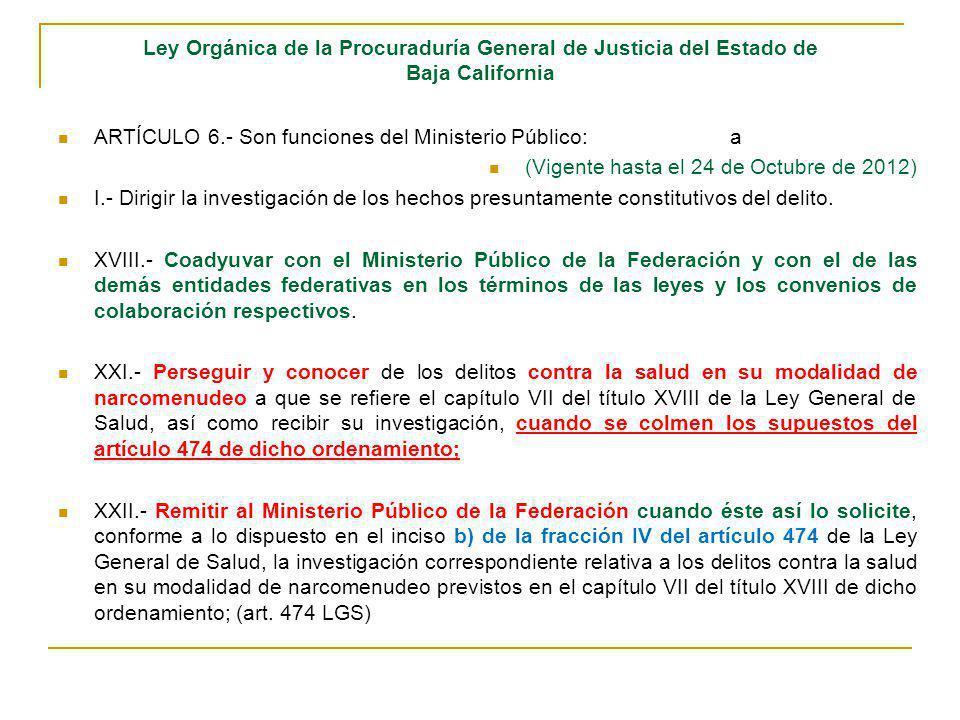 Ley Orgánica de la Procuraduría General de Justicia del Estado de Baja California ARTÍCULO 6.- Son funciones del Ministerio Público:a (Vigente hasta e