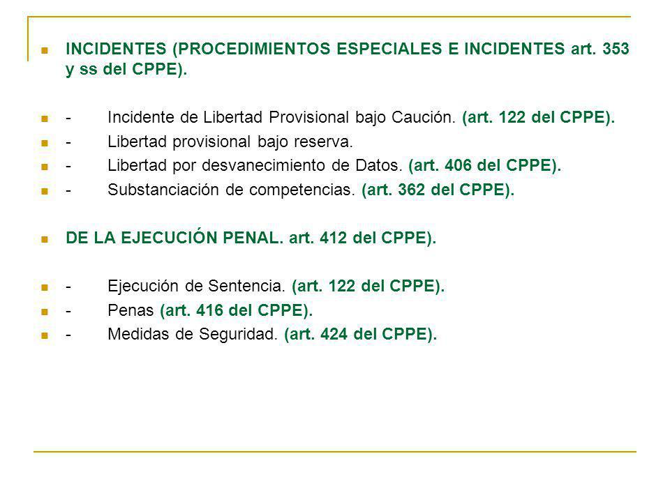 INCIDENTES (PROCEDIMIENTOS ESPECIALES E INCIDENTES art. 353 y ss del CPPE). -Incidente de Libertad Provisional bajo Caución. (art. 122 del CPPE). -Lib