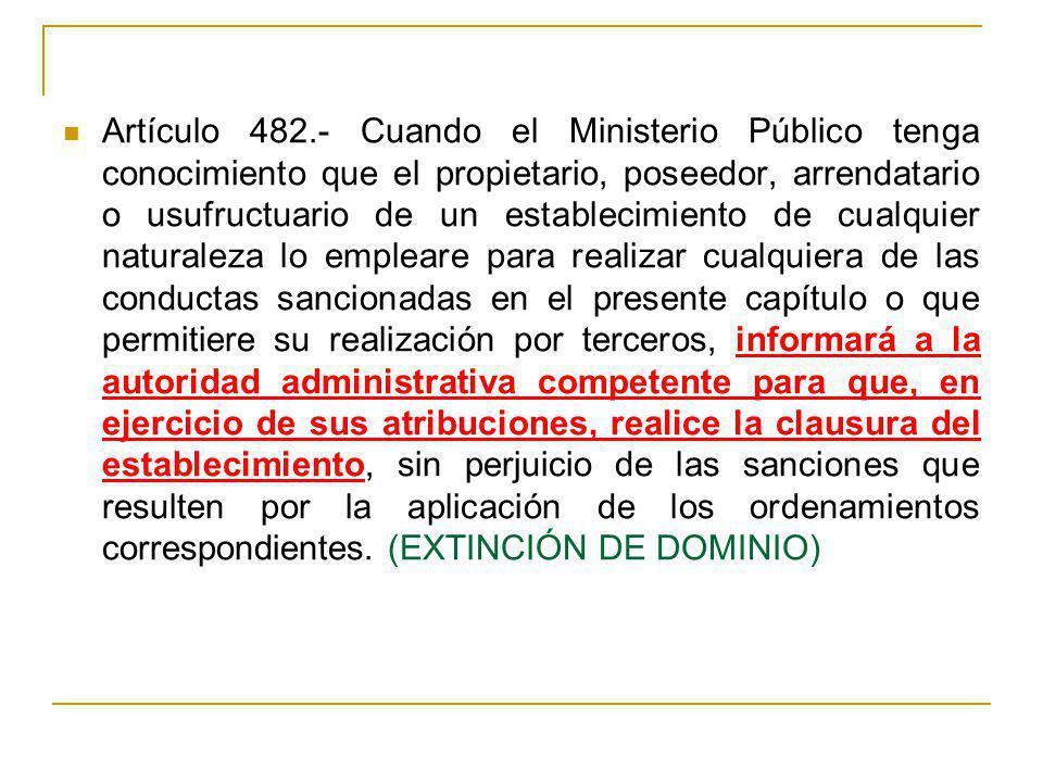 Artículo 482.- Cuando el Ministerio Público tenga conocimiento que el propietario, poseedor, arrendatario o usufructuario de un establecimiento de cua