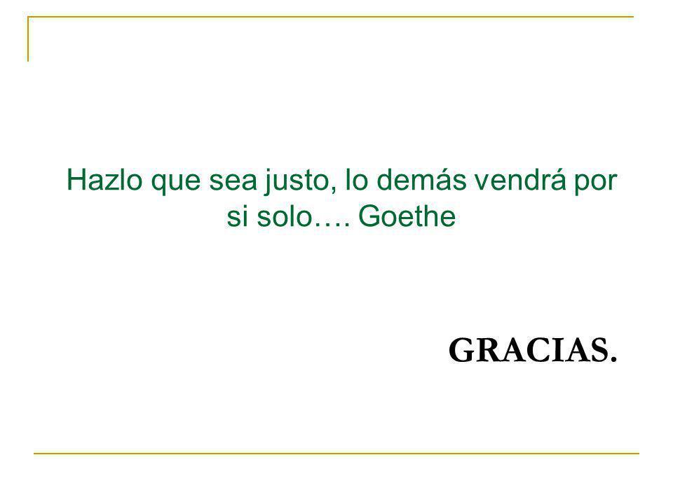 GRACIAS. Hazlo que sea justo, lo demás vendrá por si solo…. Goethe