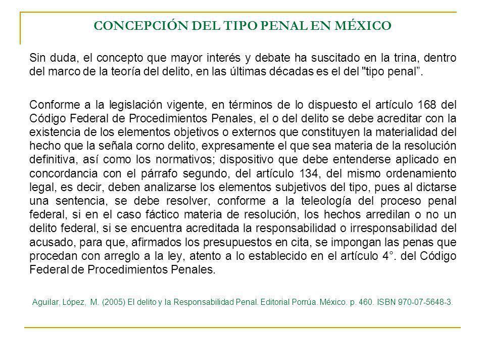 CONCEPCIÓN DEL TIPO PENAL EN MÉXICO Sin duda, el concepto que mayor interés y debate ha suscitado en la trina, dentro del marco de la teoría del delit