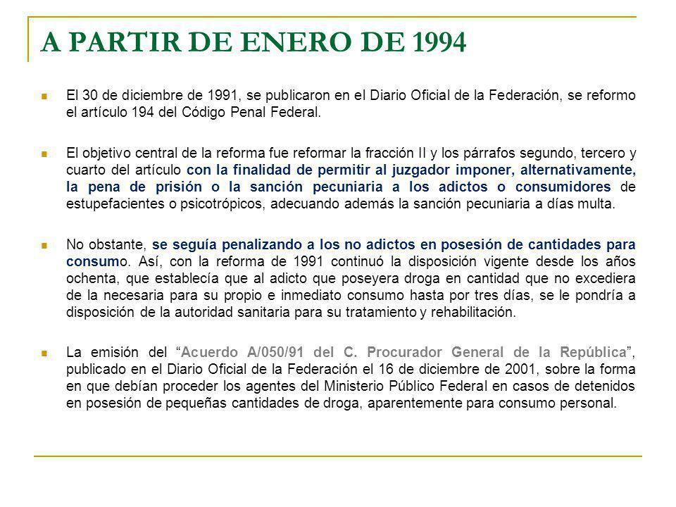 A PARTIR DE ENERO DE 1994 El 30 de diciembre de 1991, se publicaron en el Diario Oficial de la Federación, se reformo el artículo 194 del Código Penal
