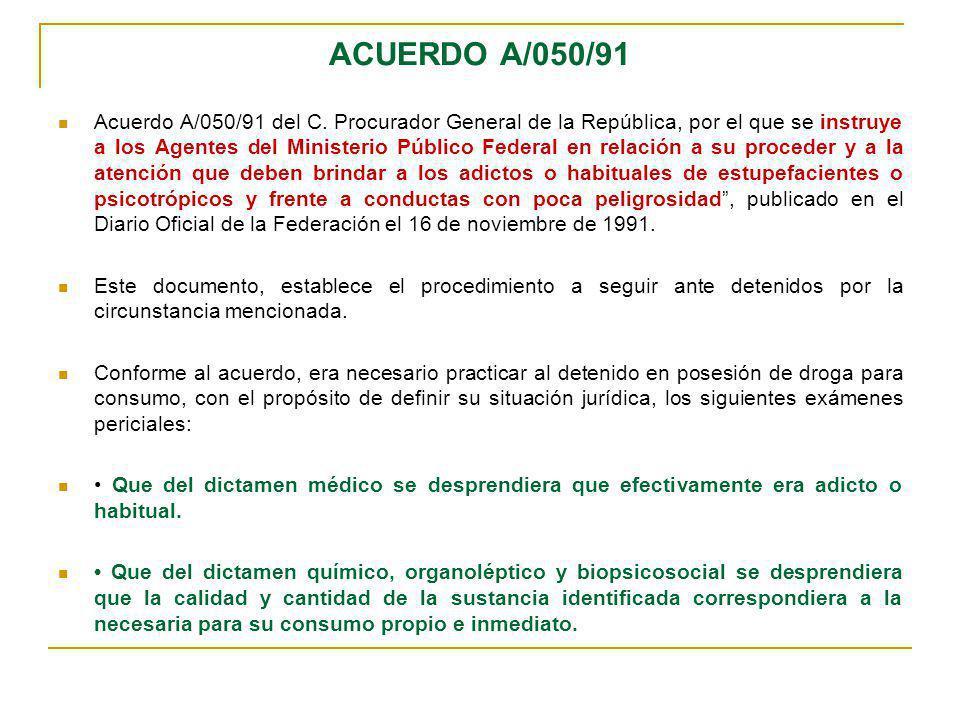 ACUERDO A/050/91 Acuerdo A/050/91 del C. Procurador General de la República, por el que se instruye a los Agentes del Ministerio Público Federal en re