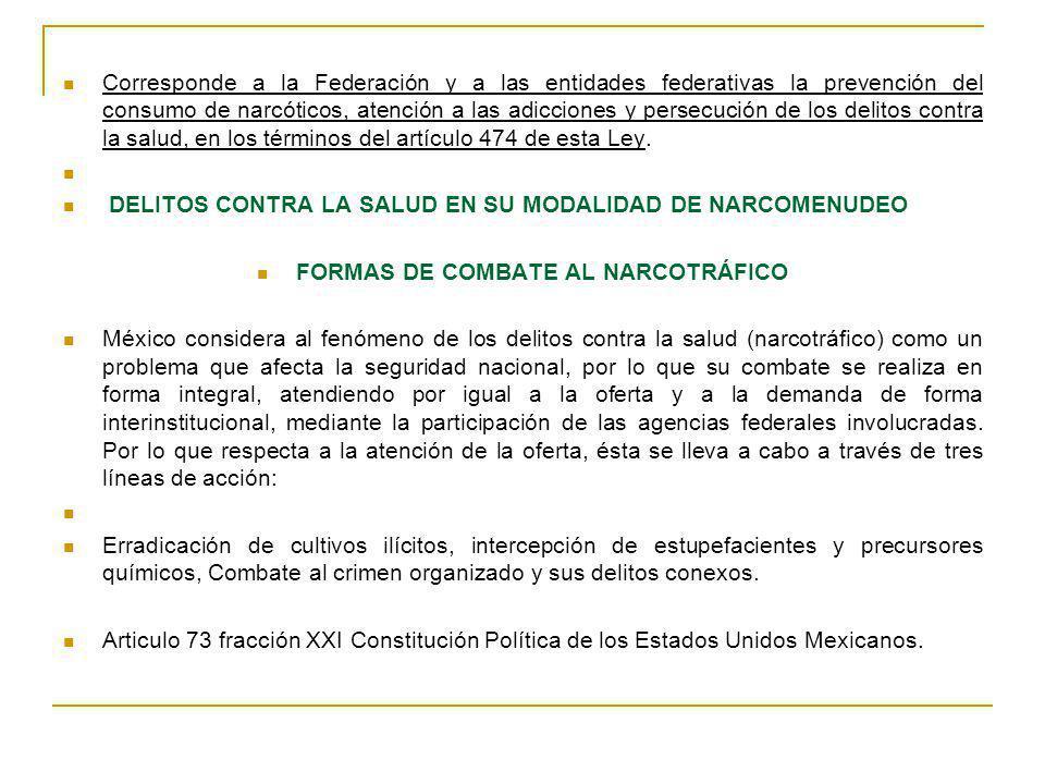 Corresponde a la Federación y a las entidades federativas la prevención del consumo de narcóticos, atención a las adicciones y persecución de los deli
