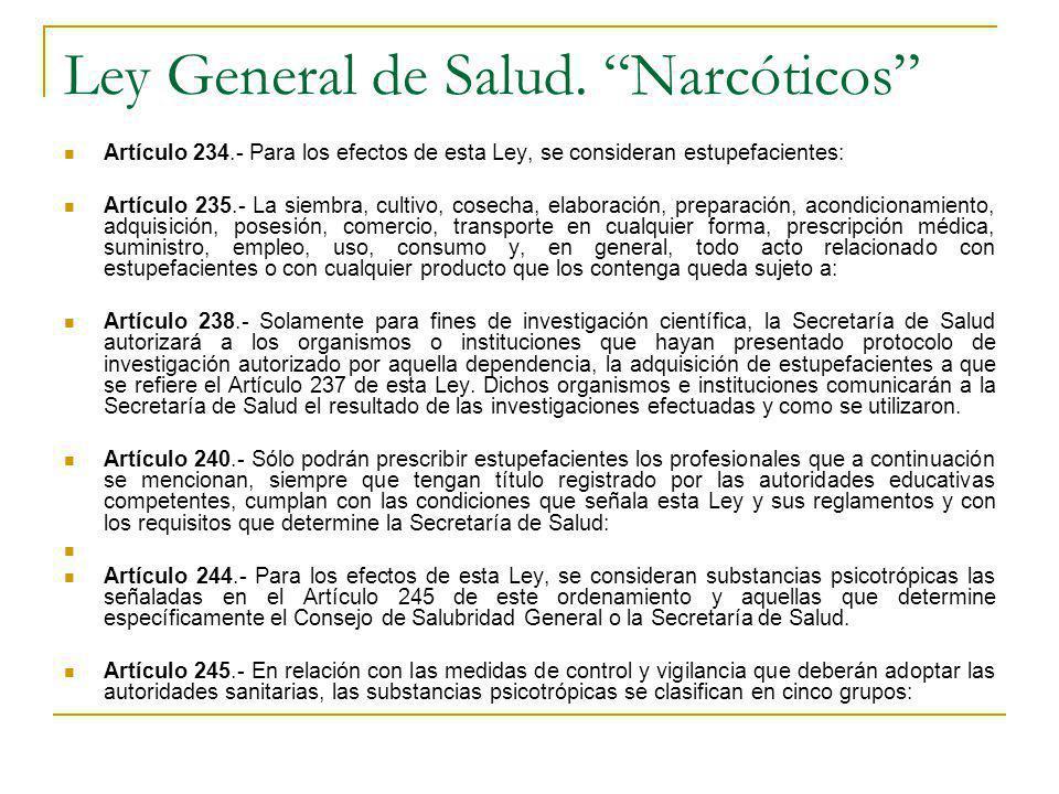 Ley General de Salud. Narcóticos Artículo 234.- Para los efectos de esta Ley, se consideran estupefacientes: Artículo 235.- La siembra, cultivo, cosec