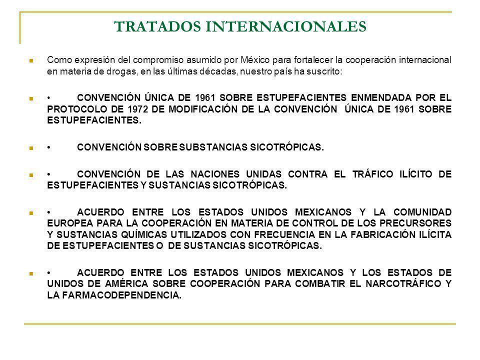 TRATADOS INTERNACIONALES Como expresión del compromiso asumido por México para fortalecer la cooperación internacional en materia de drogas, en las úl