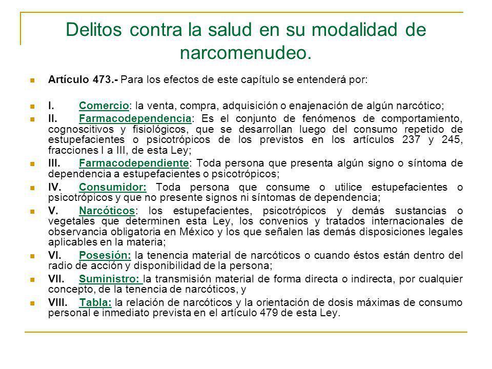 Delitos contra la salud en su modalidad de narcomenudeo. Artículo 473.- Para los efectos de este capítulo se entenderá por: I.Comercio: la venta, comp