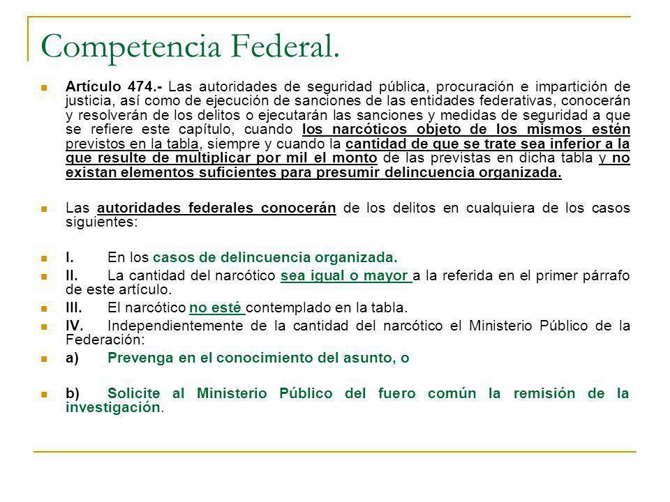 Competencia Federal. Artículo 474.- Las autoridades de seguridad pública, procuración e impartición de justicia, así como de ejecución de sanciones de