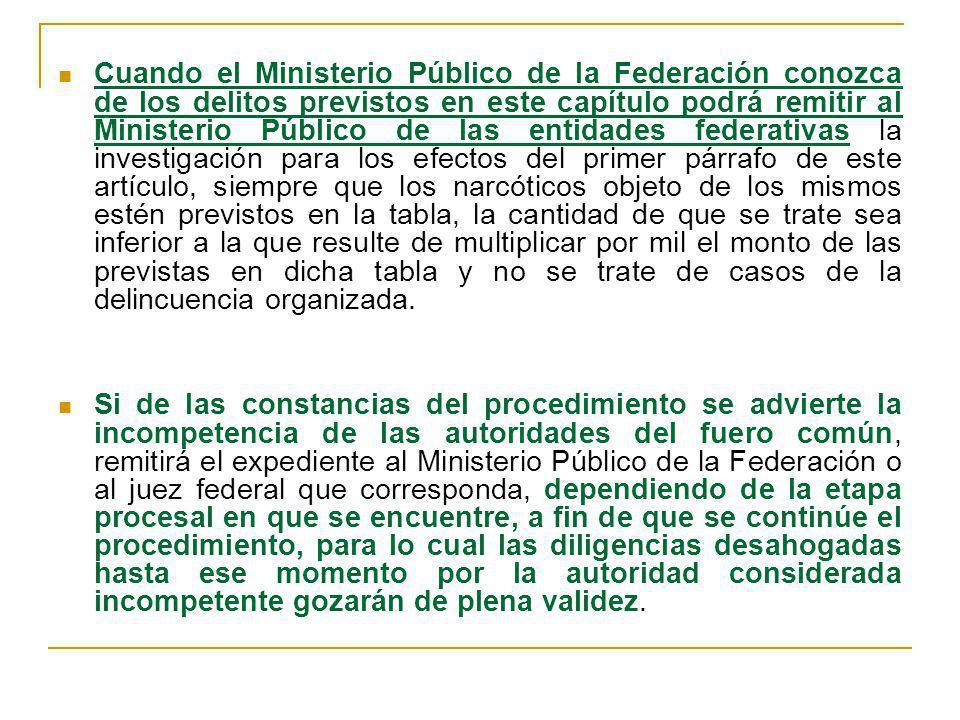 Cuando el Ministerio Público de la Federación conozca de los delitos previstos en este capítulo podrá remitir al Ministerio Público de las entidades f