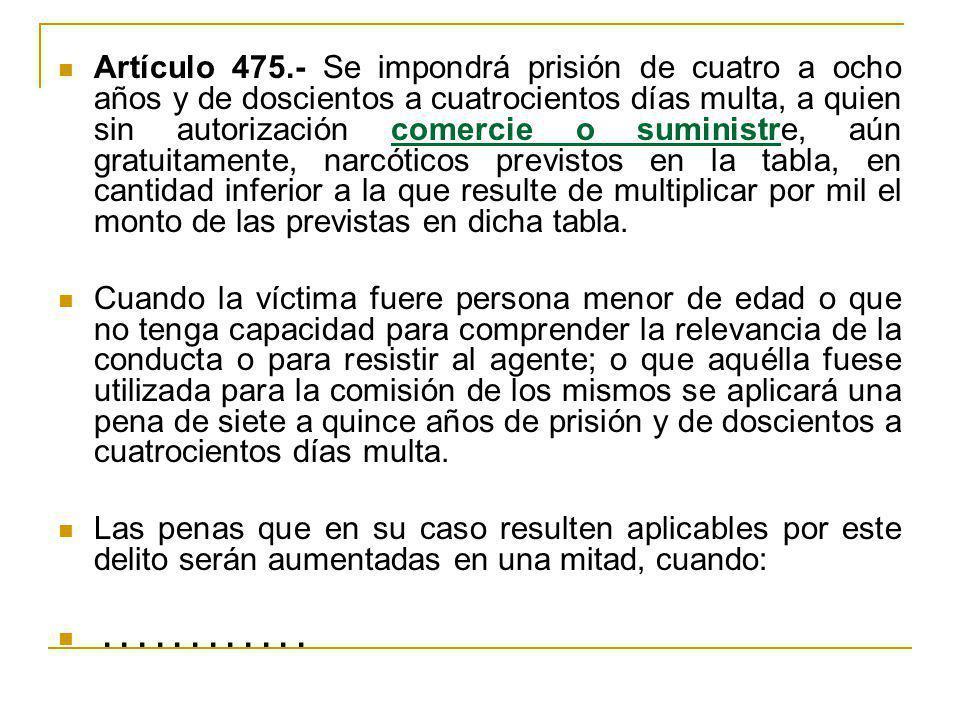 Artículo 475.- Se impondrá prisión de cuatro a ocho años y de doscientos a cuatrocientos días multa, a quien sin autorización comercie o suministre, a