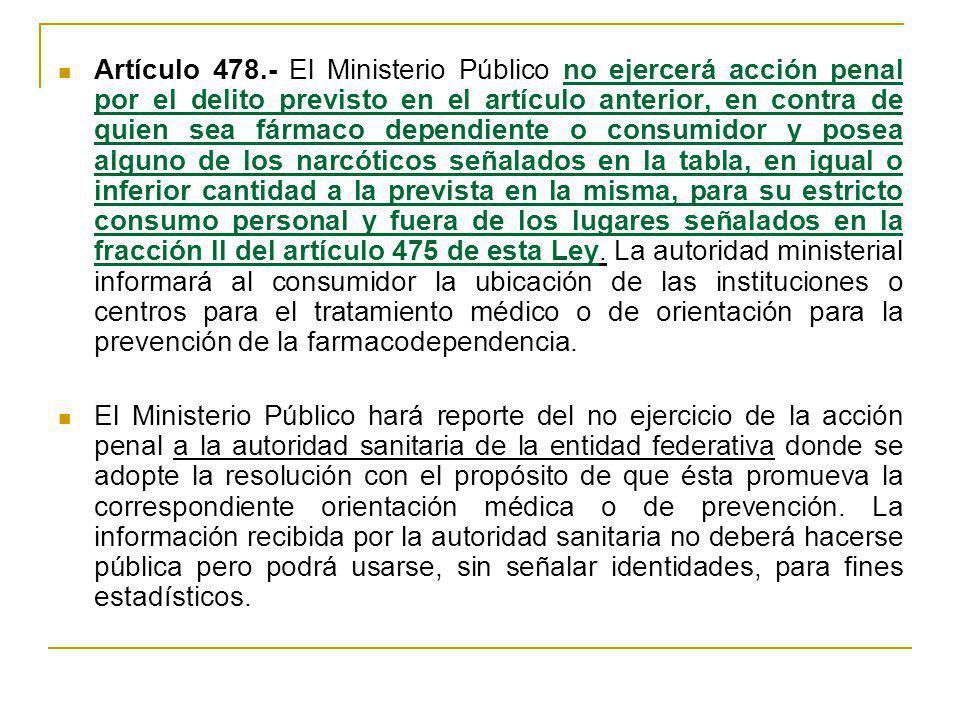 Artículo 478.- El Ministerio Público no ejercerá acción penal por el delito previsto en el artículo anterior, en contra de quien sea fármaco dependien