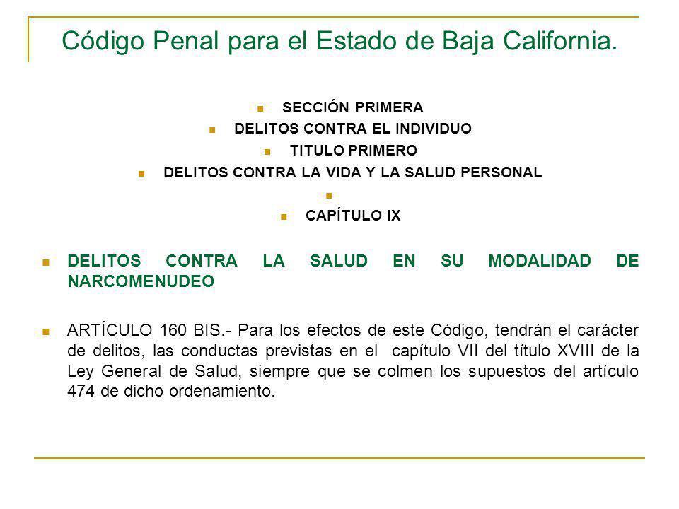 Código Penal para el Estado de Baja California. SECCIÓN PRIMERA DELITOS CONTRA EL INDIVIDUO TITULO PRIMERO DELITOS CONTRA LA VIDA Y LA SALUD PERSONAL