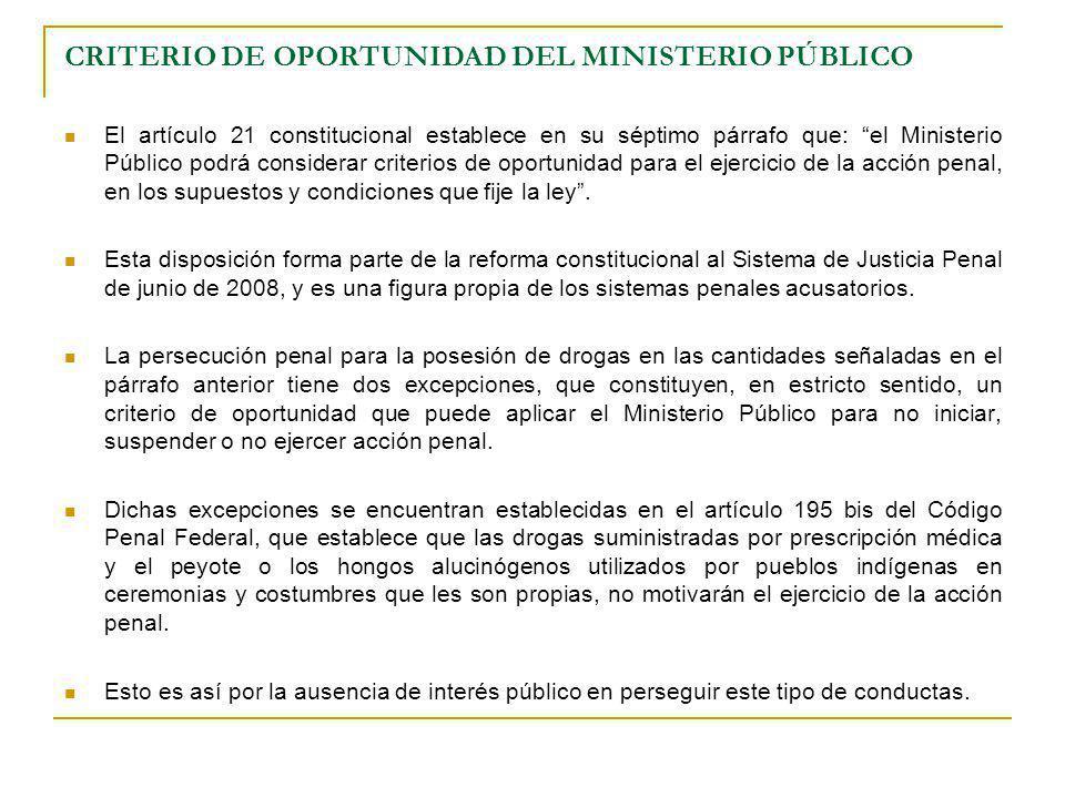 CRITERIO DE OPORTUNIDAD DEL MINISTERIO PÚBLICO El artículo 21 constitucional establece en su séptimo párrafo que: el Ministerio Público podrá consider