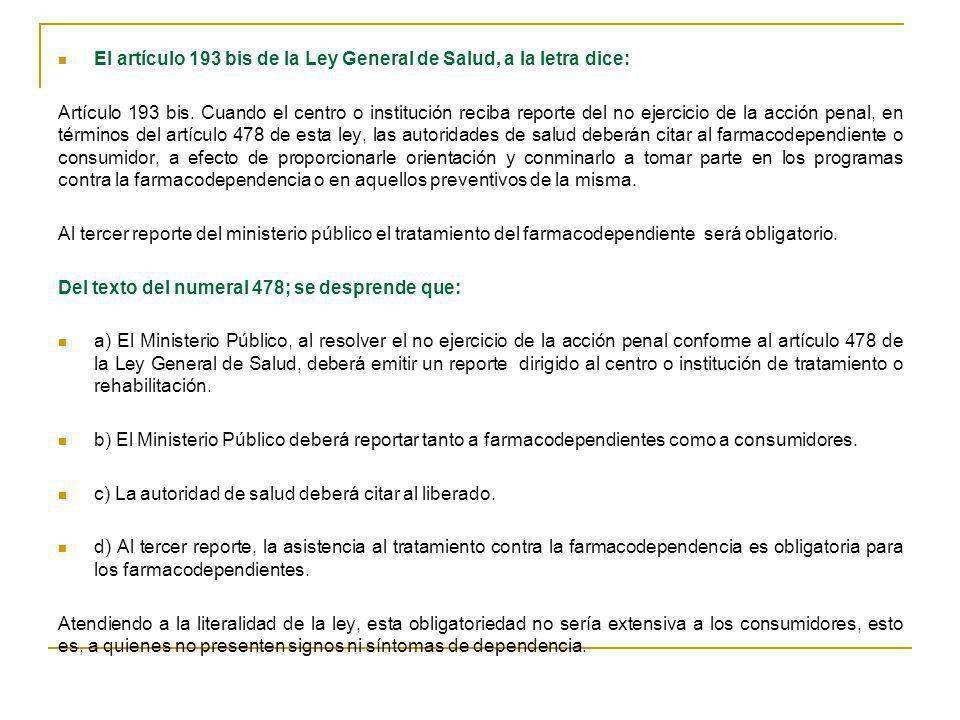 El artículo 193 bis de la Ley General de Salud, a la letra dice: Artículo 193 bis. Cuando el centro o institución reciba reporte del no ejercicio de l