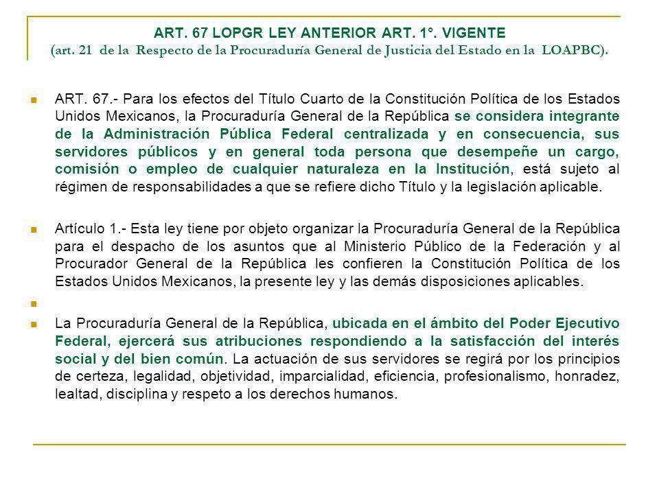 ART. 67 LOPGR LEY ANTERIOR ART. 1°. VIGENTE (art. 21 de la Respecto de la Procuraduría General de Justicia del Estado en la LOAPBC). ART. 67.- Para lo