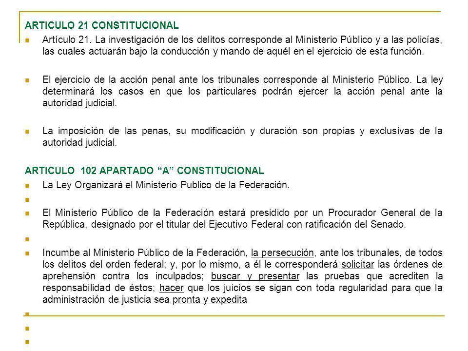 ARTICULO 21 CONSTITUCIONAL Artículo 21. La investigación de los delitos corresponde al Ministerio Público y a las policías, las cuales actuarán bajo l