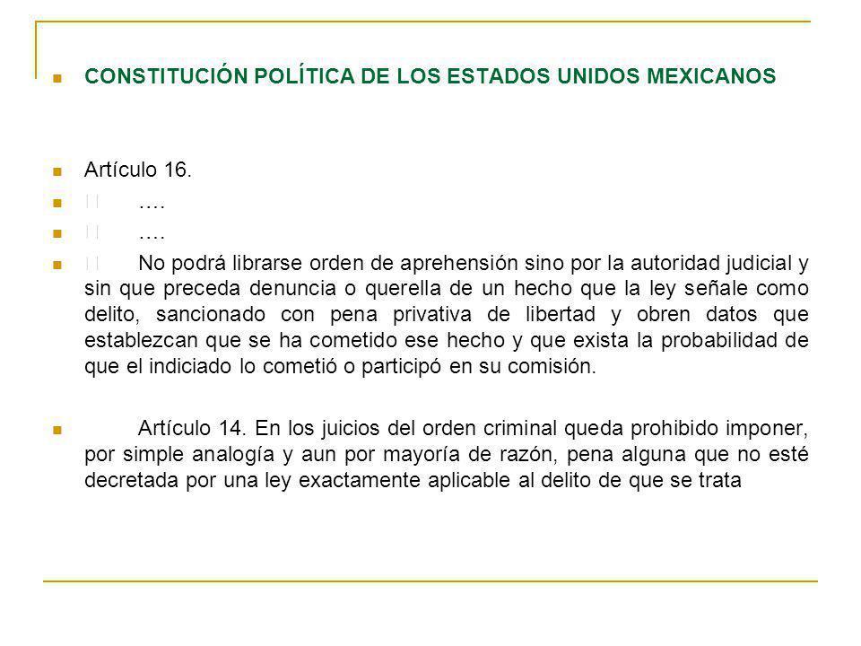 CONSTITUCIÓN POLÍTICA DE LOS ESTADOS UNIDOS MEXICANOS Artículo 16. …. No podrá librarse orden de aprehensión sino por la autoridad judicial y sin que