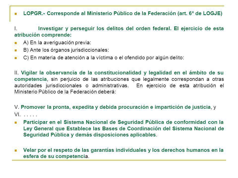 LOPGR.- Corresponde al Ministerio Público de la Federación (art. 6° de LOGJE) I.Investigar y perseguir los delitos del orden federal. El ejercicio de
